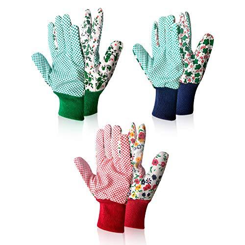 Yesloo 3 pares de guantes, Guantes de jardinería Flor, for mujer para trabajos de jardinería, Flor Verde/Rosa (A)