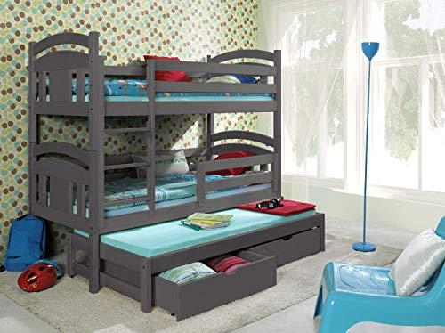 Bunk Beds Etagenbetten aus Holz, für 3 Personen, Grau