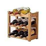 Pyrojewel Plegable de vino de madera del sostenedor del estante de almacenamiento Pantalla tabla con patas de madera rústica Bastidores encimera decoración Organizador (Color: Marrón, Tamaño: 35.5x36x