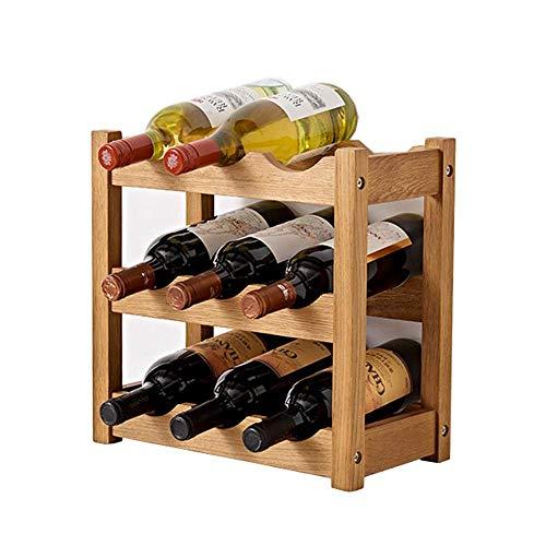 CAIJINJIN estante del vino Botellero plegable de vino de madera del sostenedor del estante de almacenamiento Pantalla tabla con patas de madera rústica decoración Bastidores Organizador portátil estan