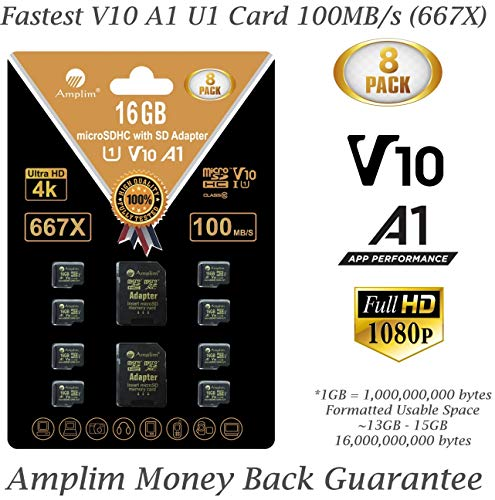 8-Pack Bulk 16GB Micro SDHC Memory Card Plus Adapter – Amplim 16 GB Class 10 Micro SD Card V10 A1. Extreme High Speed 100MB/s 667X microSDHC TF Card. Cell-Phones Tablets Fire Cameras Nintendo Drones