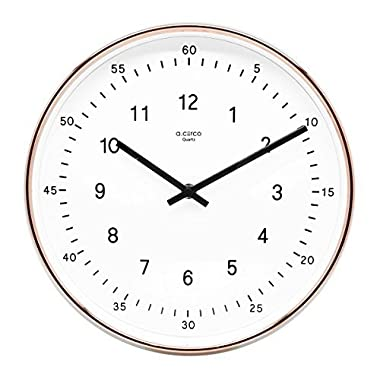 A.Cerco Non Ticking Silent Metal Copper Wall Clock - 11  Two Tone