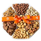 Oh! Nuts Christmas, Gourmet Nut Gift Baskets, Large 7 Variety Holiday Freshly Roasted Party Tray, Mothers, Father's & valentine's Day Gifts, Prime Basket Idea for Men & Woman Birthday, Sympathy