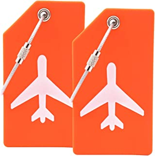 2PCS Y.A. LOTUS Silicone Luggage Tags with Name ID Card and Stainless Steel Loop, Premium Flexible Travel ID Bag Tag helps Quickly Spot Luggage Suitcase, for women, men - Orange