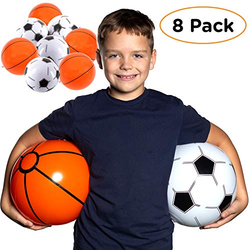 Beach Balls for Kids in Bulk: Best 8 Pack Soccer Ball & Basketball Beach Ball for Pool. Easy Blow Up Inflatable Beachball. Fun Water Toys & Kid Boys & Girls Party Favor Birthday Parties Outdoor Games