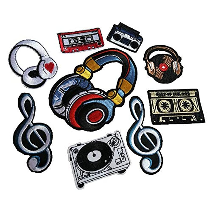 Music Series Embroidery Patch Radio/Tape/Player/Headphone/Music Symbol Garment Decoration/Shoes/Hats Patch(9 Pcs)