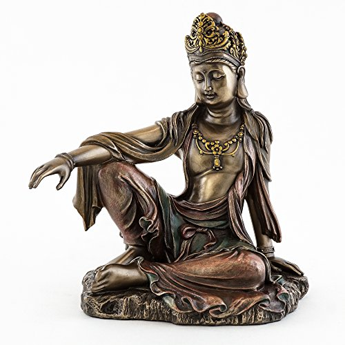 Top Collection H 7.25' W 6.5' Water & Moon Quan Yin in Royal Ease Pose Statue in Cold Cast Bronze - Goddess of Mercy Buddha Statue