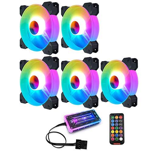 Coolmoon - Ventilador de levitación magnética de alta presión de bajo ruido, 120 mm RGB ventilador de refrigeración Chasis magnífico radiador silencioso (5 ventiladores)