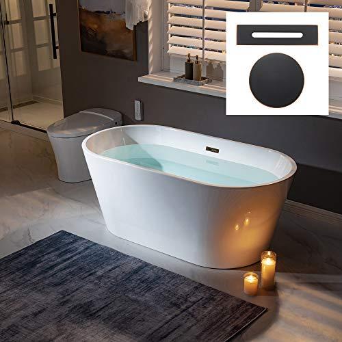 WOODBRIDGE 59' Freestanding Bathtub Contemporary Soaking Tub, White Acrylic (Oil Rubbed Bronze Drain/Overflow),B0014 ORB Drain &O