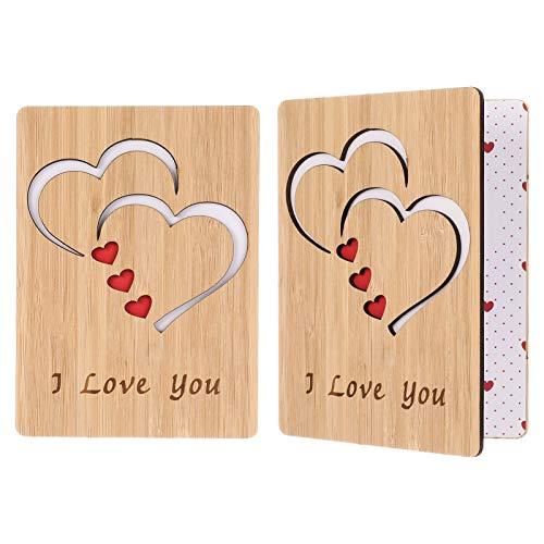 Tao Pipe Tarjeta de Aniversario de Bambú con Texto I Love You, Tarjetas de Felicitación de Madera, Tarjetas de Regalo de Alta Calidad, Regalos Artesanales para Aniversario de Navidad y San Valentín