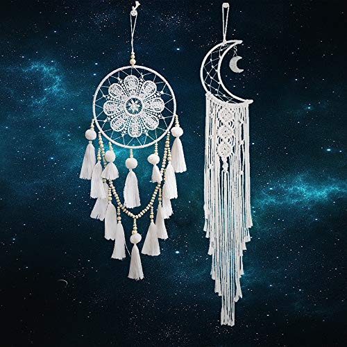 Koitoy Makramee Wandbehang Boho Decor Woven Wanddeko 2 Pcs Wandteppich Tapisserie Traumfänger (Moon and Dream)