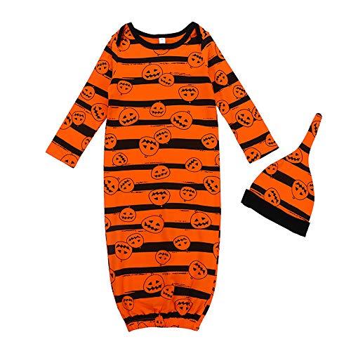Sac de couchage pour bébé Halloween - Pyjama - Naissance - Citrouille à manches longues - Ensemble de vêtements anti-coups de pied rayé - Sac de couchage pour poussette