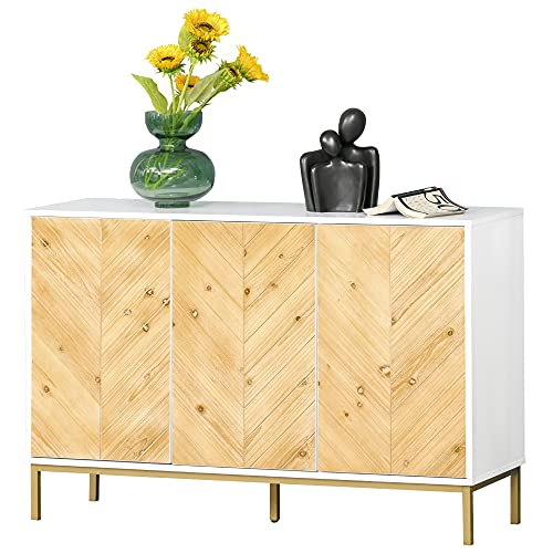 HOMCOM Modern 3 Door Accent Sideboard Storage Cabinet with Chevron Pattern and Adjustable Shelving, Natural Wood