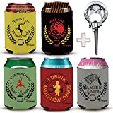 Funny GOT Cans Bottle Sleeves for 12, 16OZ - Thick Neoprene Beer Coozies | Pack of 5 | Novelty Drink Cooler Coolie | Bonus Hand of the King Opener