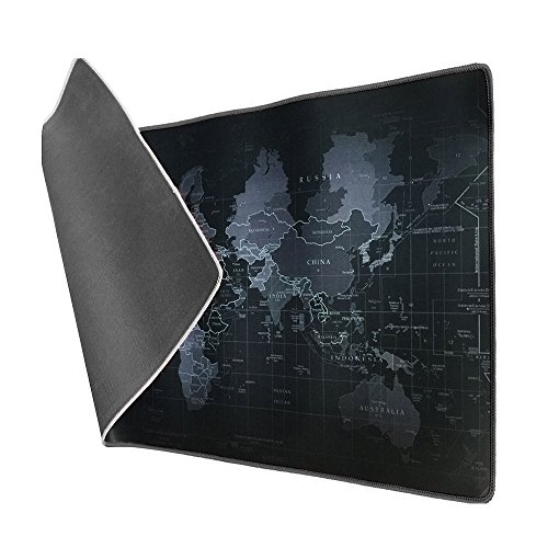 Vicloon Tappetino Mouse Gaming XXL per Mouse e PC, Mouse Pad Antiscivolo Fondo in Gomma con Bordi Cuciti 900x 400x3mm Mappa del Mondo