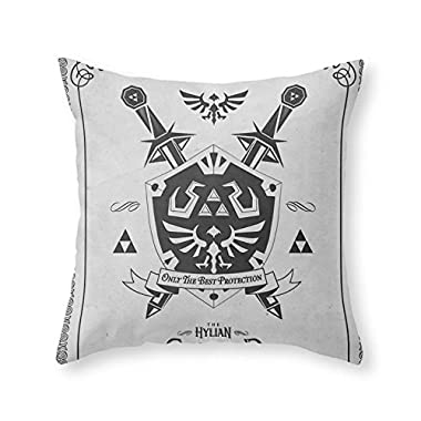 Society6 Legend Of Zelda Hylian Shield Foundry Logo Iconic Geek Line Artly Throw Pillow Indoor Cover (16  x 16 ) with pillow insert