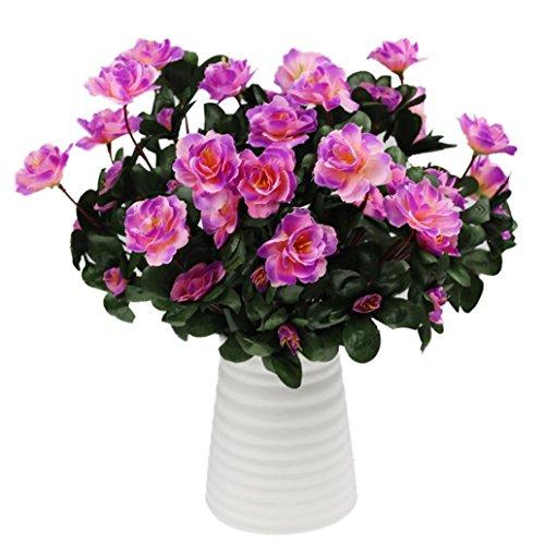 Coloré(TM) Roses de cristal Simulation artificielle de bouquet de décoration de mariage à la maison de carthame d'azalée (Violet)