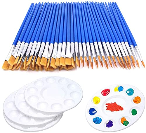 60 Pcs Flat Paint Pallet Brush with 5 PCS Round Paint Tray Palettes for Kids,Children Art Paint Brushes Nylon Hair Small Brush Acrylic Oil Watercolor Artist Painting for Paint Party Classroom Starter
