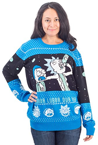 Ripple Junction Rick and Morty Wubba Lubba Spaceship Christmas Sweater (Adult Large)