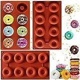 NALCY Molde de rosquilla, Molde de Silicona Galletas, Moldes de Silicona Donut, Galletas, Bagels, Bandeja para Hornear buñuelos, sin BPA, 8 cavidades - 3 Piezas