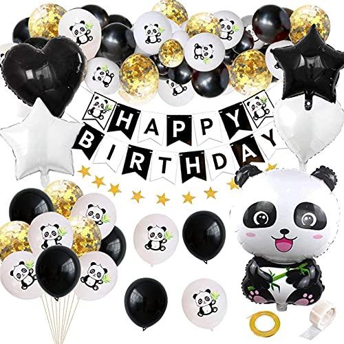 Décorations de fête d'anniversaire en forme de panda - 53,3 cm - Joyeux anniversaire - Bannière d'étoiles en latex - Ballons sur le thème des animaux de la jungle - Pour anniversaire, fête prénatale