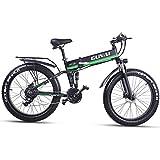 GUNAI Fettreifen Fahrrad 26 Zoll Elektro Fahrrad 1000 Watt 48 V Schnee e-Bike 21 Geschwindigkeiten Llithium Batterie Hydraulische Scheibenbremsen Mountain E-Bike für Erwachsene mit Rücksitz