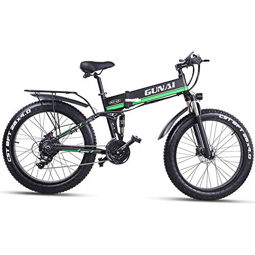 GUNAI Electric Bike 26 Inches Folding Fat Tire Snow Bike 12Ah Li-Battery 21 Speed Beach Cruiser Mountain E-bike with Rear Seat