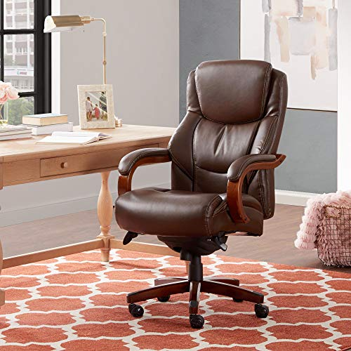 La-Z-Boy Delano Big & Tall Executive Office Chair, High Back Ergonomic Lumbar Support, Bonded Leather, Brown