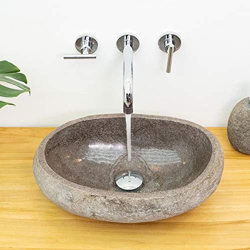 wohnfreuden Waschbecken aus Naturstein Steinwaschbecken ca. 40 cm Flussstein Aufsatzwaschbecken Waschtisch