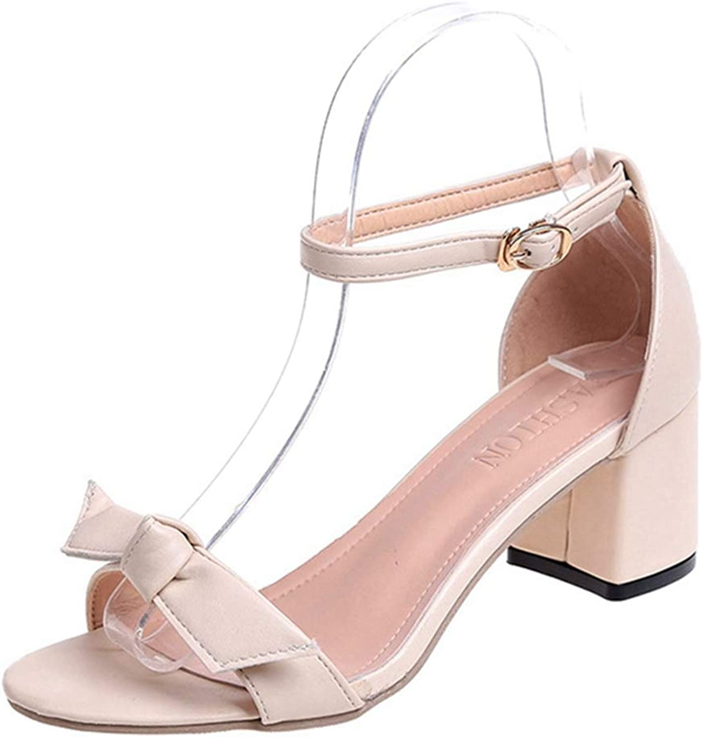 GIY Women's Bowknot Strappy Mid Block Heel Sandals Open Toe Party Simple Classic Ankle Strap Chunky Heel Sandals