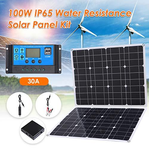 Lixada 100W DC 5V / 18V Dual Output Solarpanel mit 2 USB-Anschlüssen und IP65-Wasserdichtigkeitsregler für 12V / 24V Solarladeregler PWM Intelligenter Regler