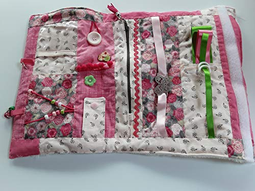 Convertible floral and bee sensory/fidget quilt/muff for dementia sufferers