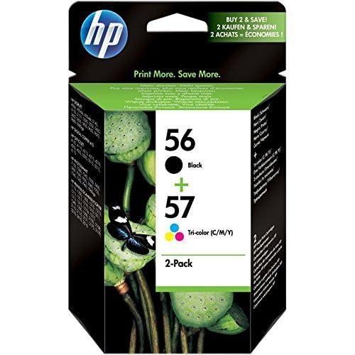 HP 56 e 57 SA342AE Combopack da 2 Cartucce Originali per Stampanti a Getto di Inchiostro, Compatibile con Deskjet 5550, Photosmart 7350, 7150, 7345, Officejet 6110 , 5110, Nero/Colore