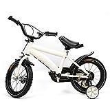 14 Zoll Kinderfahrrad für Mädchen und Jungen ab 3-6 Jahre mit Abnehmbare Stützräder, Fahrrad für Kinder (Weiß)
