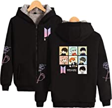 FridayLead BTS Concert Q Version of The Cartoon Cute Same with Velvet Thickened Zipper Unisex Hooded Sweater