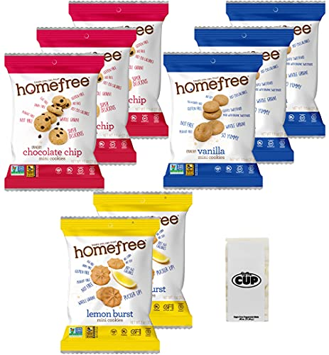 Homefree Gluten Free Cookies 3 Flavor Variety Pack, 8 Count with By The Cup Mints