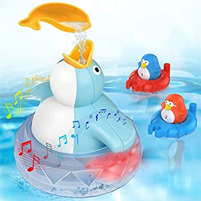 TOYOKID Bath Toys Bathtub Toy for Toddlers Kids Babies 1 2 3 4 Years Old Boys and Girls, 1 Floating Penguin with Music and LED Light, Baby Bath Toy Birthday Gift Ideal Color Box