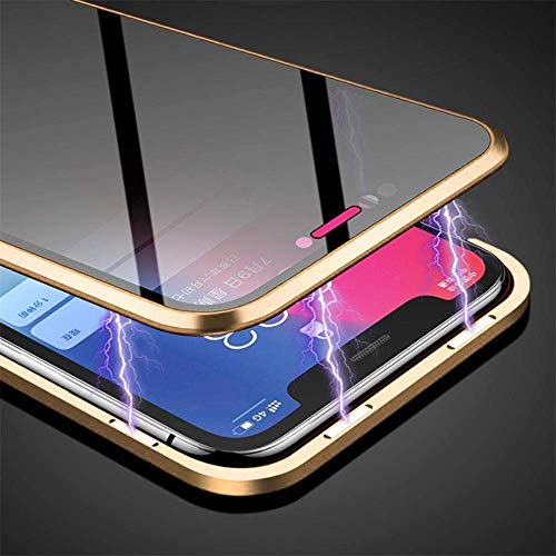 Anti-peep Magnetic Case for iPhone 7 Plus iPhone 8 Plus, HAPO 5.5 inches Anti-Spy Tempered Glass Phone Cases Cover,Anti Peeping Adsorption Privacy Screen Protector (Gold)