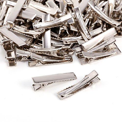 Anladia 100x Pince Epingle Cheveux dent Crocodile Clip Metal Salon Coiffeur Fer nickelé argenté L 32mm