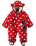 Minetom Unisex Bebés Recién Nacido Grueso Terciopelo Coral Mameluco Invierno Pelele Pijamas Niños Niñas Monos Caricatura Trajes Rojo 0-2 Meses (50)