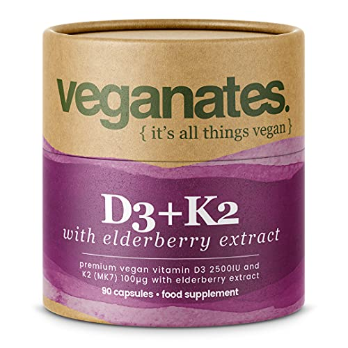 Vegan Vitamin D3 2500IU & K2 MK7 100µg with Elderberry Extract for Additional Immune Support. Plastic Free Eco Packaging, 90 Capsules - 3 Months Supply. Made in The UK by Veganates