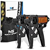 HEAVY SPORTS ® Handtrainer - [2X] Fingertrainer mit verstellbarem 5-50kg Widerstand & [2X]...