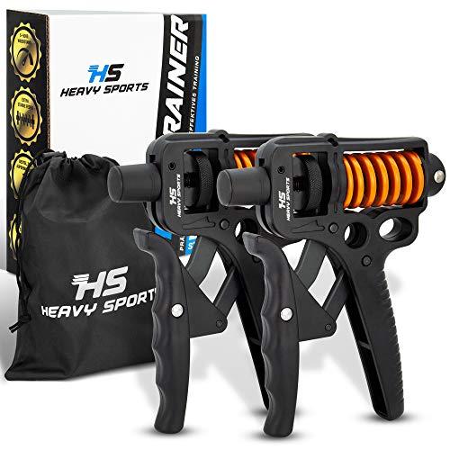 HEAVY SPORTS ® Handtrainer - [2X] Fingertrainer mit verstellbarem 5-50kg Widerstand & [2X] Handschlaufen - GriffkraftTrainingsset für Fitness - inklusive Aufbewahrungsbeutel - mit E-Book