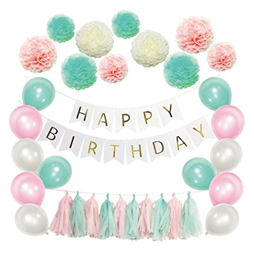 Amosfun 51 Pcs Tissue Paper Flowers Pom Poms Tassels DIY Paper Garland Balloons Kit for Birthday Wedding Party Decoration (Mint Green Series)