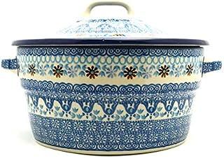 Polish Pottery Baker - Round Covered Casserole - Blue Yonder