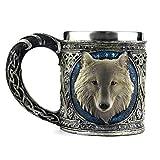 Ezeso Wolf-Reisebecher für Tee, Wein, Bier, aus Edelstahl und Harz, edelstahl Kunstharz, Mug