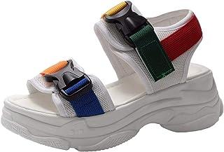 JJLIKER Women's Fashion Open Toe Sport Sandals Summer Comfortable Walking Athletic Flatform Sandals Sneakers
