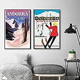 NOBRAND Andorra Europa Viajes Pinturas sobre Lienzo Cuadros Vintage Carteles Kraft Revestidos Pegatinas de Pared Decoración del hogar Regalo No Fra-b_30x40cmX2