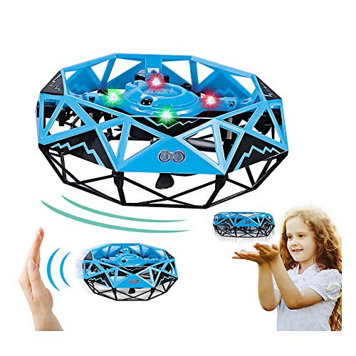 Hand Operated Drones for Kids, Mini Drone with 360 Degrees Rotating, UFO Flying Toys with LED Light, Hand-Controlled Flying Ball for Kids & Adult, Indoor Hand Drone Blue