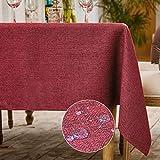 WAITER TREE Tovaglia Rettangolare Tovaglia Impermeabile per Cucina Ristorante in Finto Lino (Rosso Rubino, 140x180cm)